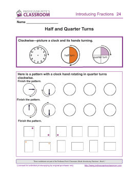 quarter half turn fractions introducing turns worksheets wishlist profpete