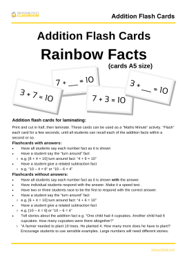 Professor Pete's Classroom » Addition Flash Cards to 20: Rainbow ...