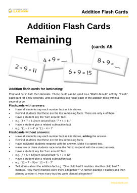 Professor Pete's Classroom » Addition Flash Cards to 20: Remaining ...