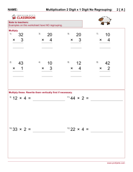 professor pete s classroom multiplication 2 digit x 1 digit no regrouping professor pete s. Black Bedroom Furniture Sets. Home Design Ideas