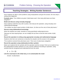 how to write a number sentence to solve a problem